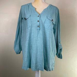 PLUS Gloria Vanderbilt Blue Tab Sleeve Tunic XXL